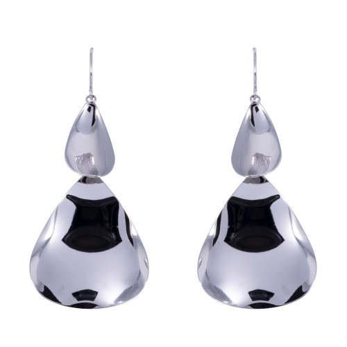 Bisoux Large Rodium Plated Statement Drop Earrings